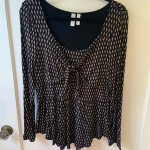 Anthropologie Stretchy Tie Chest Tunic Top Size L